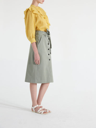 FRONT BUTTONED PENCIL MIDI SKIRT