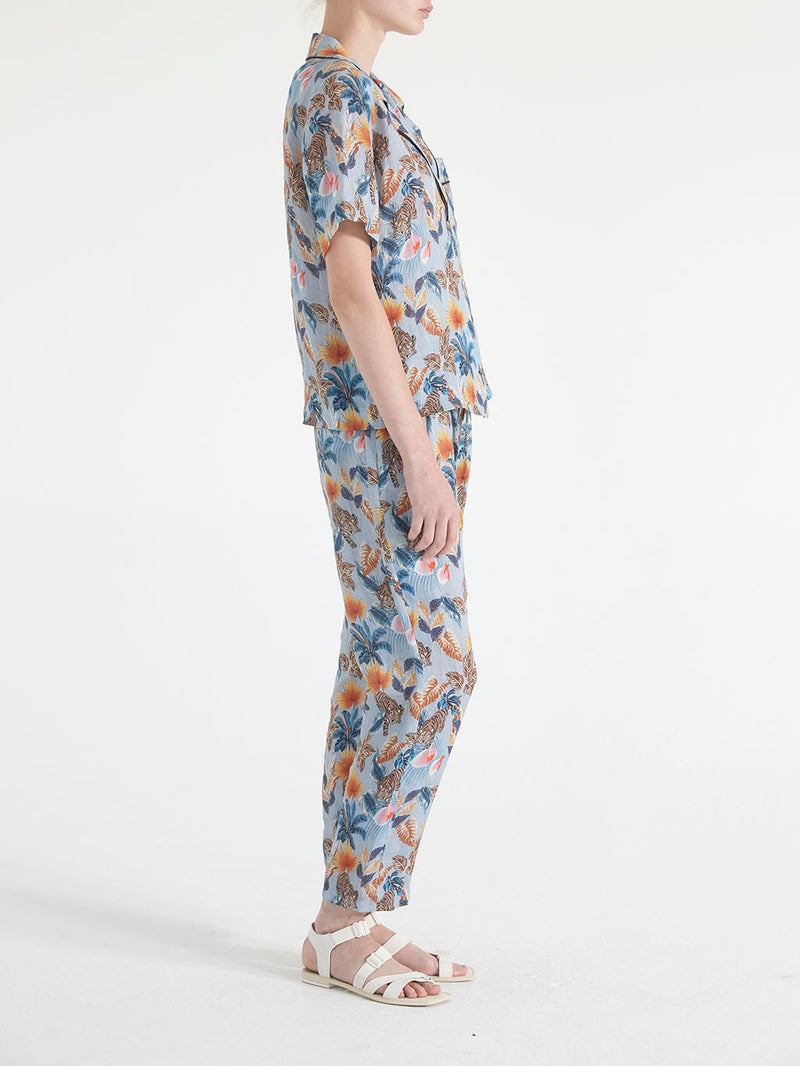 TIGER PRINTED LINEN PANTS