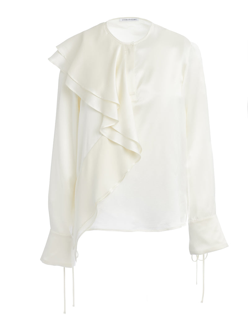 Asymmetric Frill Satin Silk Top in Ivory