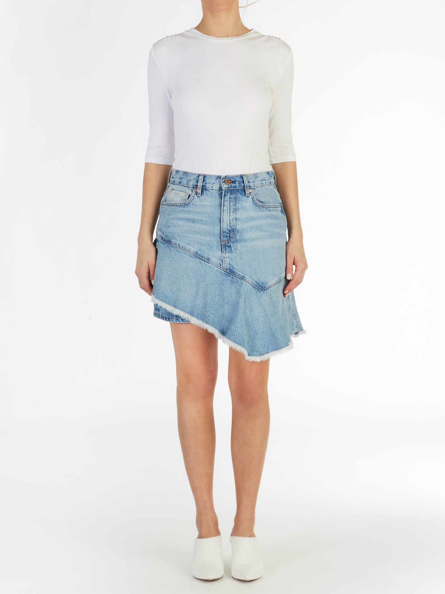 Asymmetric Ruffle Skirt in Italian Denim