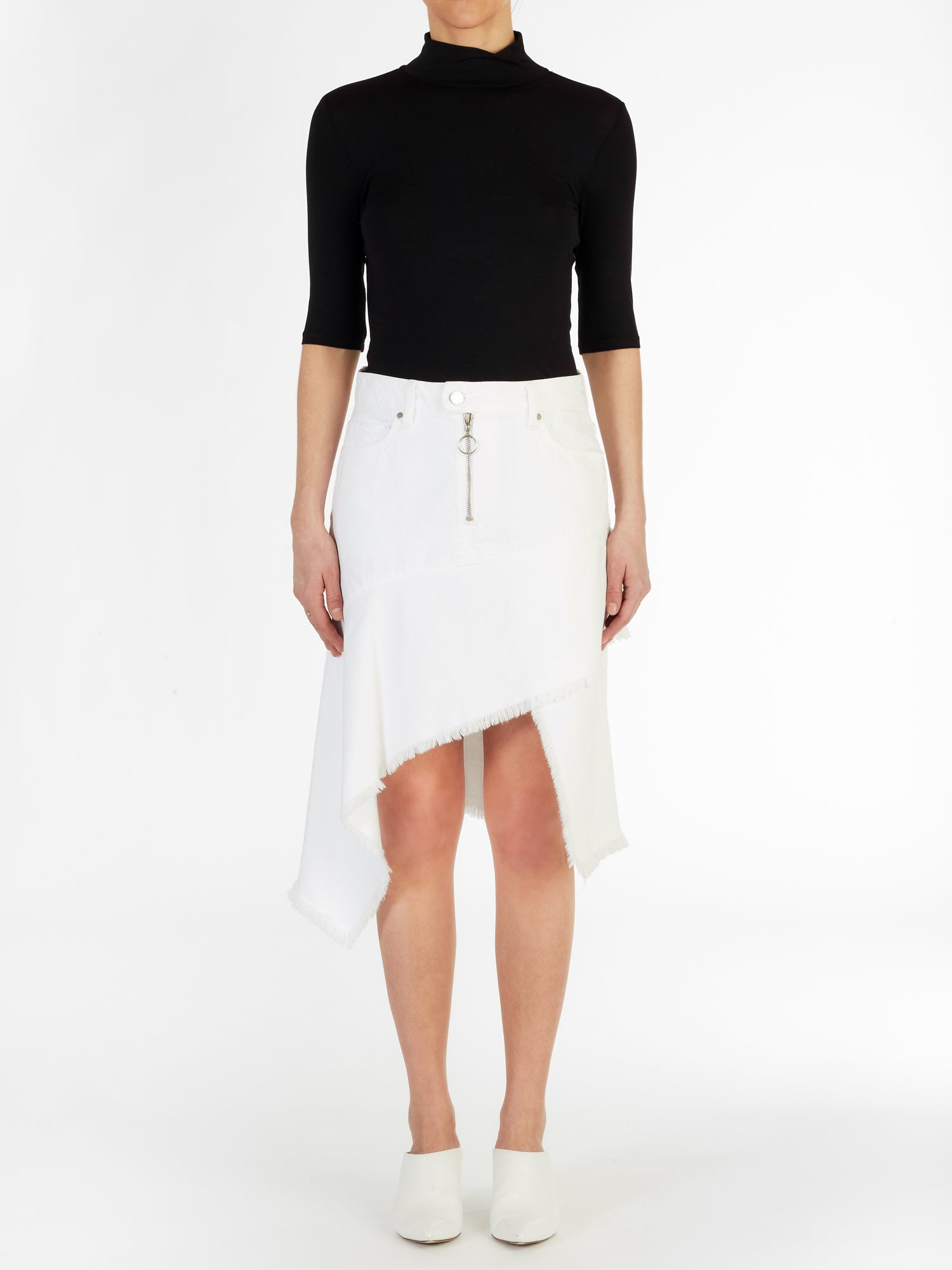 Asymmetric Skirt in White Rigid Italian Denim