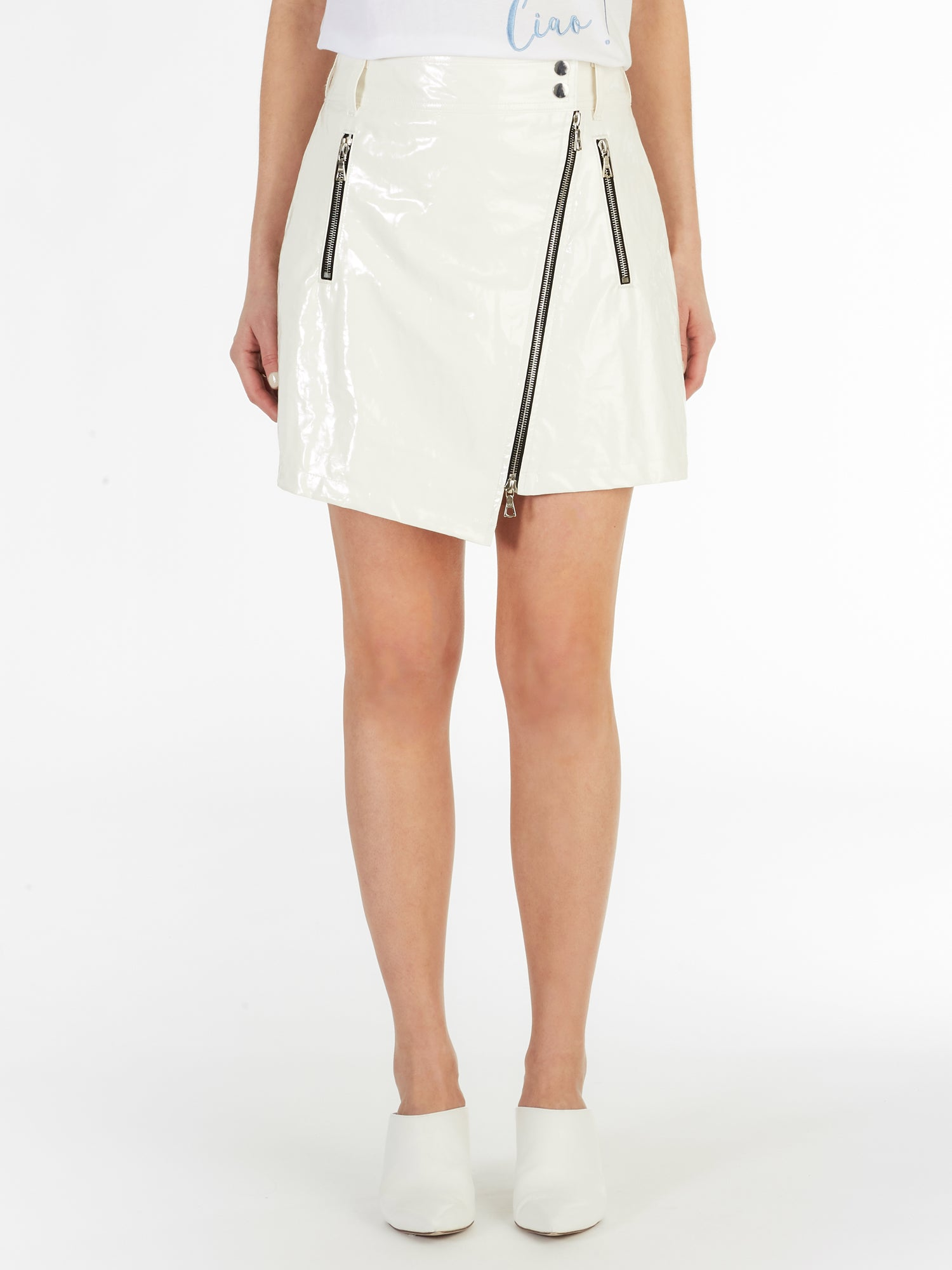 Asymmetric Zipped Front PU Skirt in White