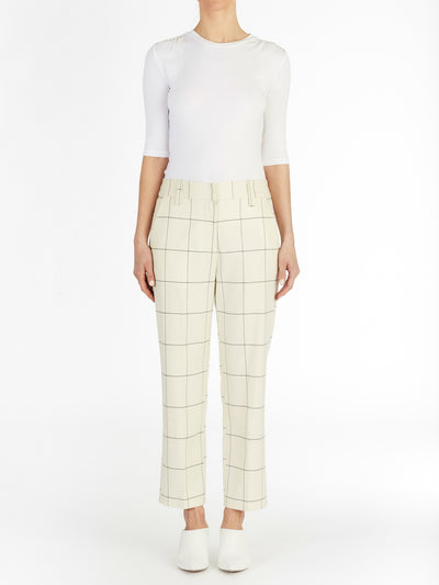 Audrey Checked Cropped Trouser in Italian Checker Fabric