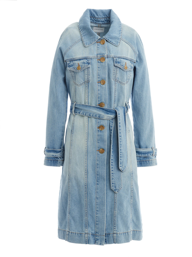 Belted Coat in Light Wash Soft Italian Denim