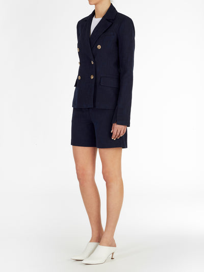 Brit Double Breasted Cotton Blend Blazer