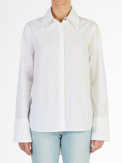Chelsea High Low Hem Fine Italian Cotton Poplin Shirt