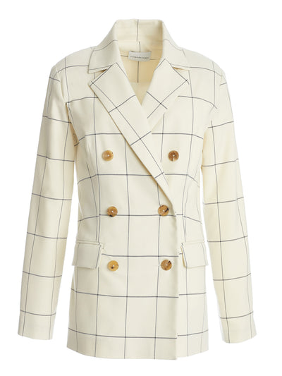 Clare Checked Double Breasted Blazer in Italian Checker Fabric