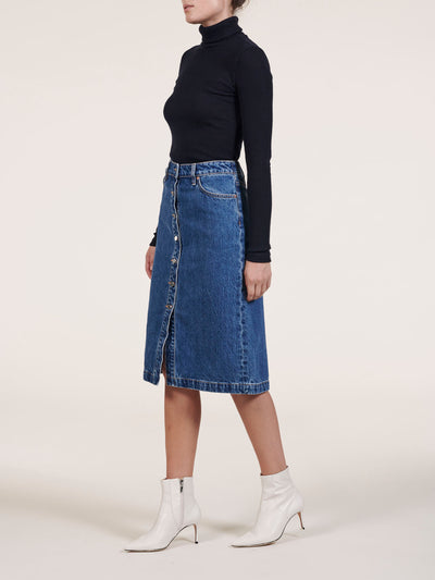 Button Front Pencil Denim Midi Skirt