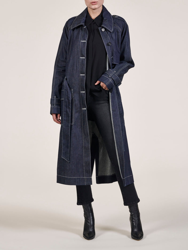 Steph Raw Denim Trench Coat