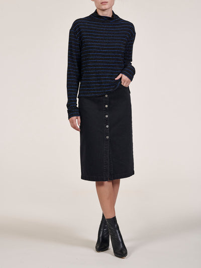 Button Front Pencil Midi Skirt