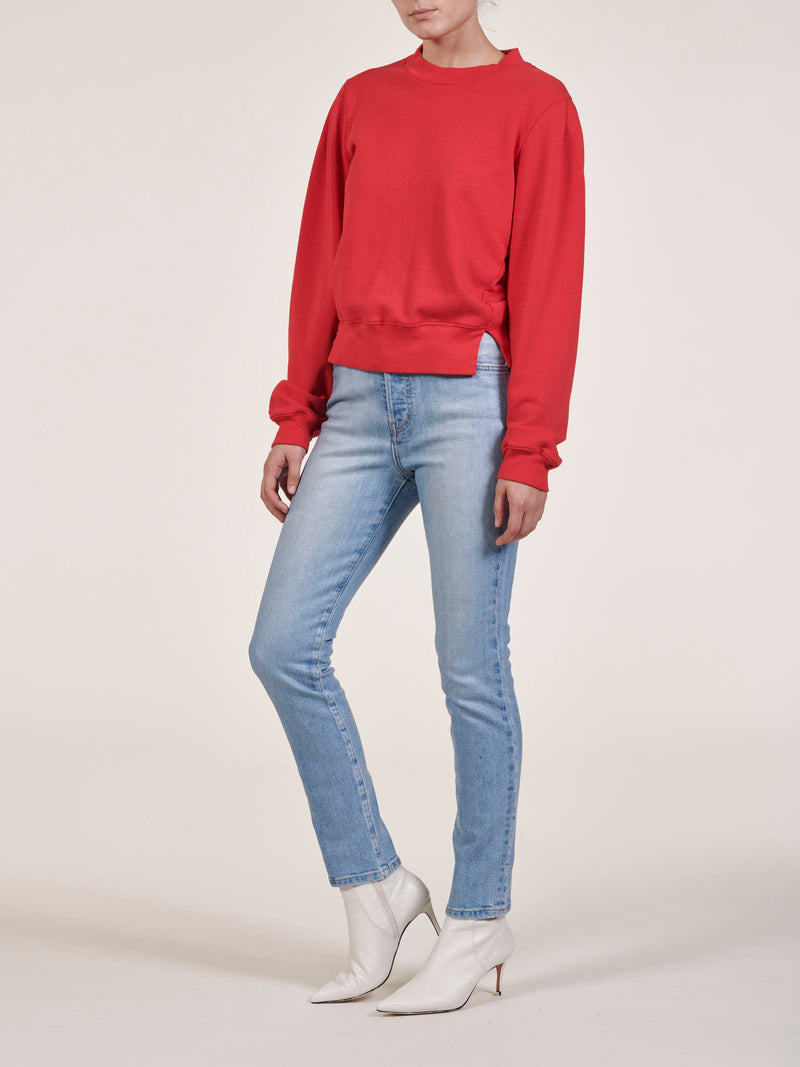 Red Pleated Sleeve Cropped Sweatshirt