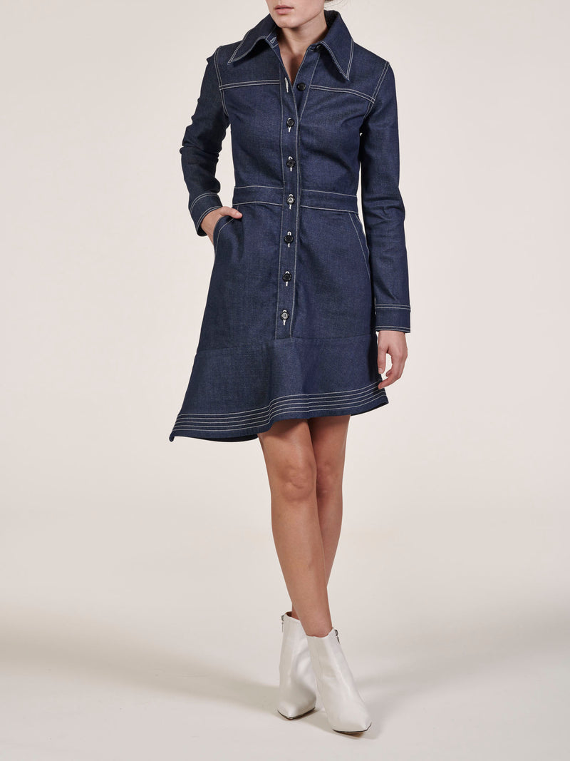 Elyse Raw Denim Asymmetric Dress