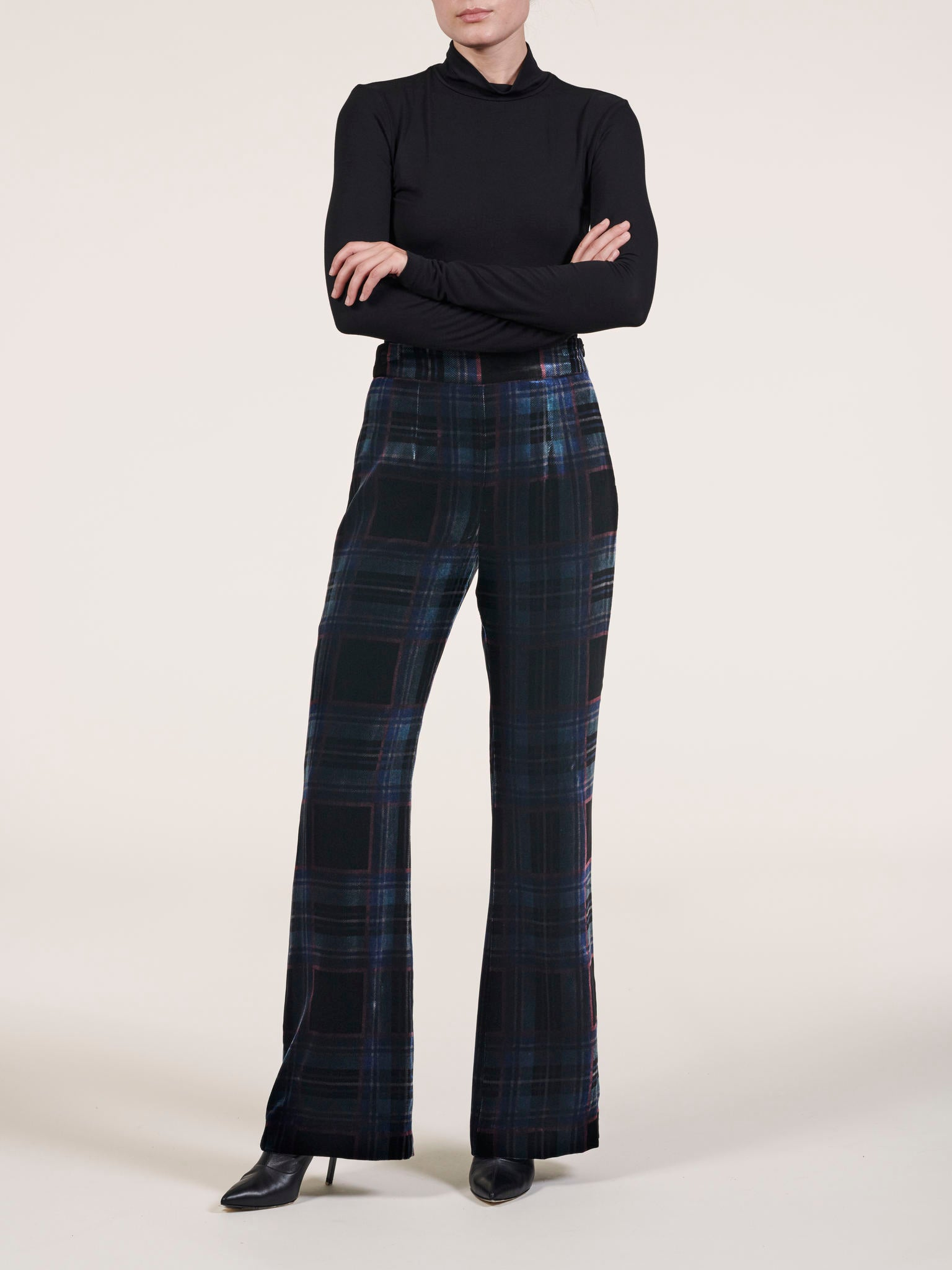 Plaid Velvet Flare Pants