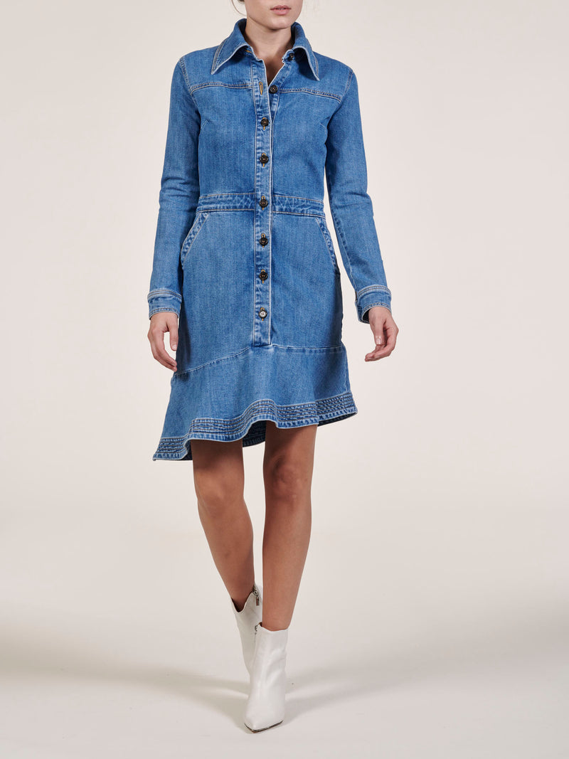 Elyse Denim Asymmetric Dress