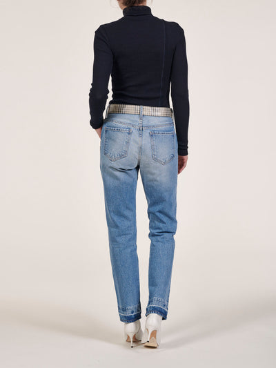 Mateo Plaid Block High Waist Straight Jeans