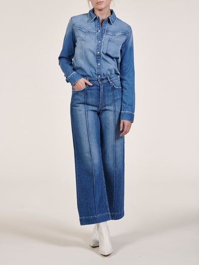 Pintucked High Waist Wide Leg Jean