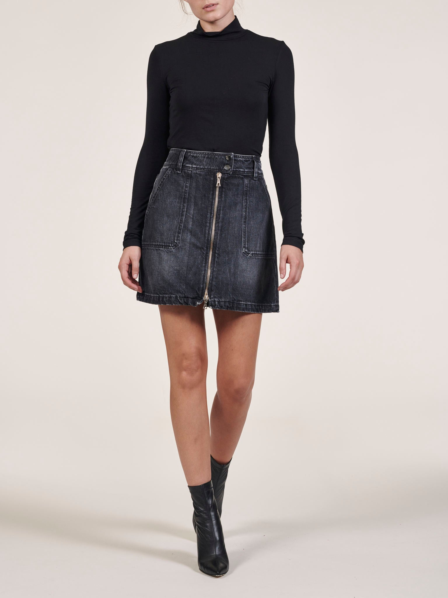 Zip Front A-Line Black Denim Skirt