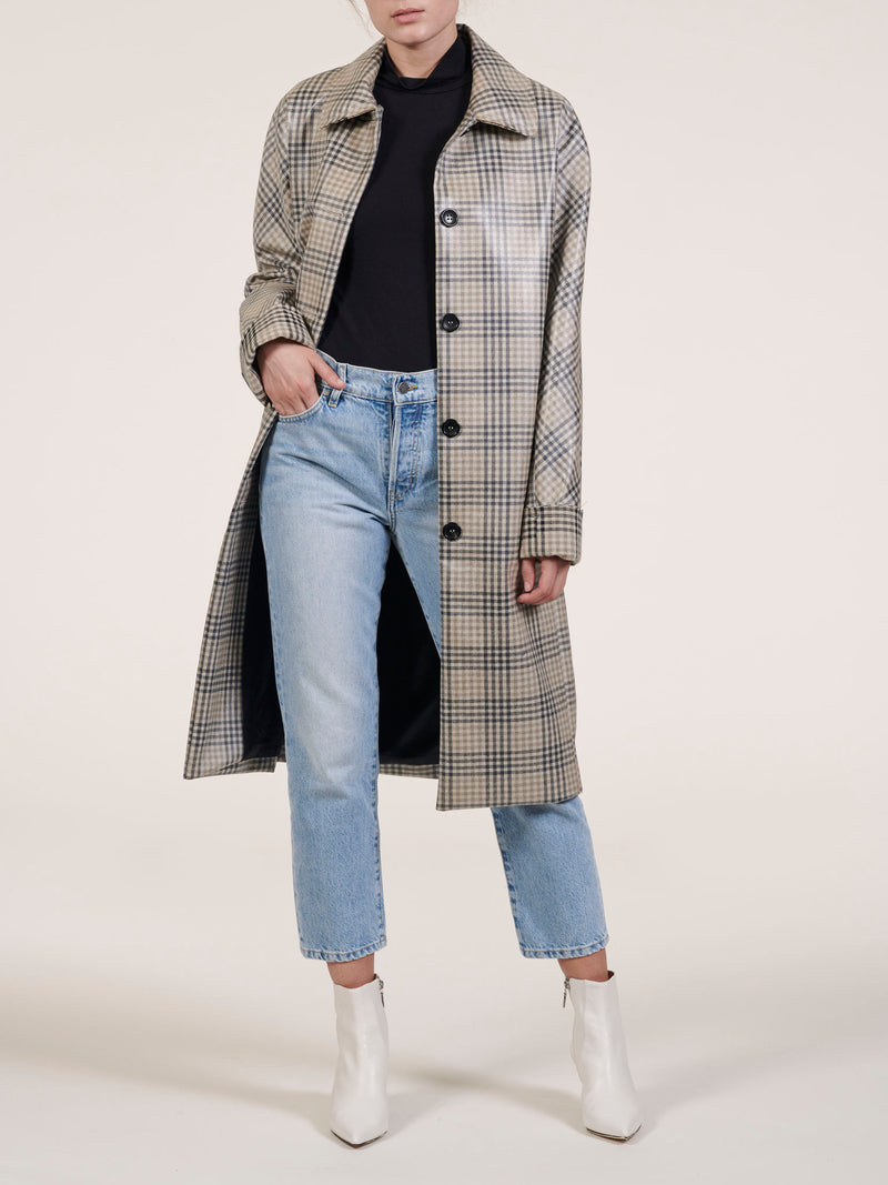 Robertson Coated Wool Plaid Coat