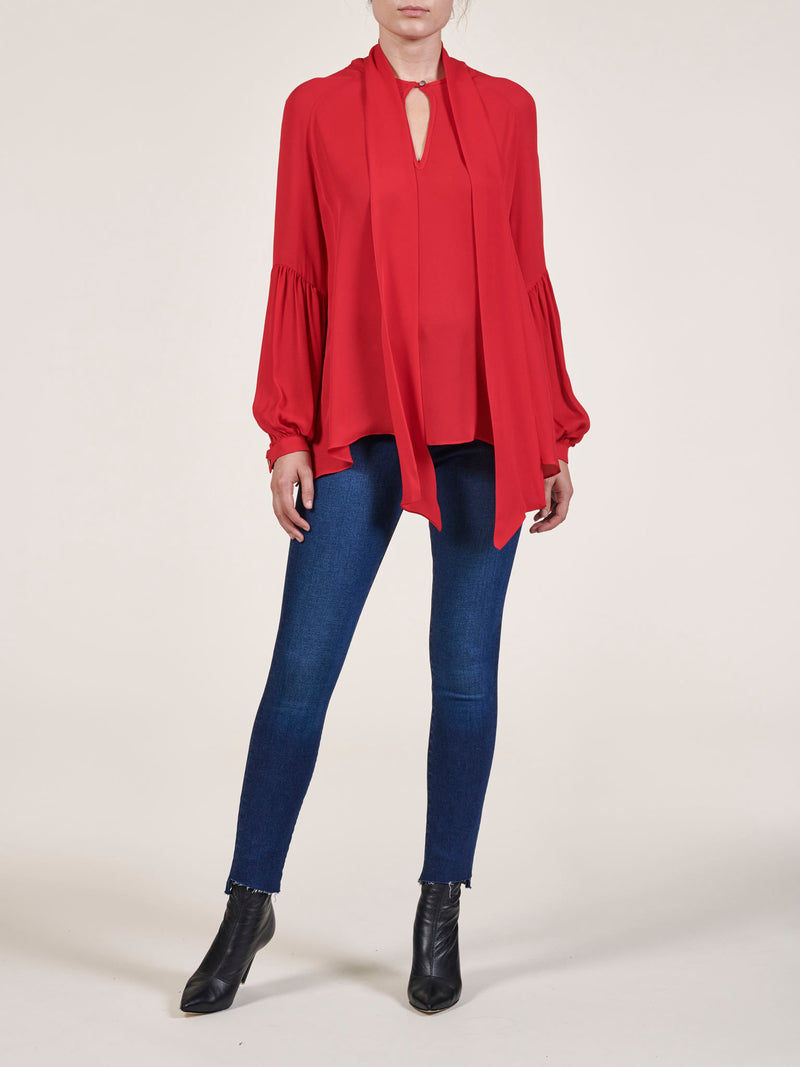 Eva Tie Neck Silk Georgette Blouse