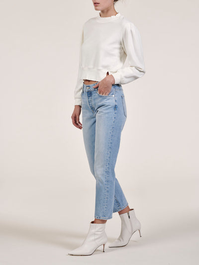 White Pleated Sleeve Cropped Sweatshirt