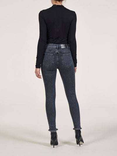 Button Fly High Waist Skinny Jeans In Stretch Italian Denim