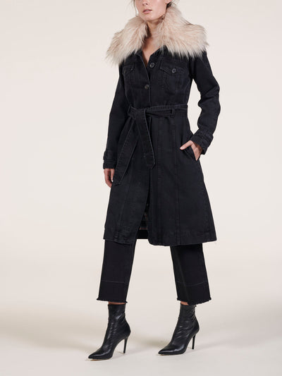 Belted Black Denim Coat With Detachable Faux Fur Collar