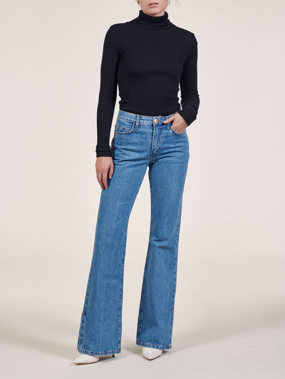 High Waist Flare Jeans With Slits