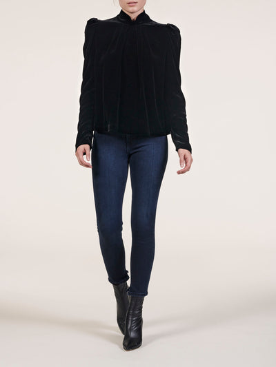 Velvet High Neck Top