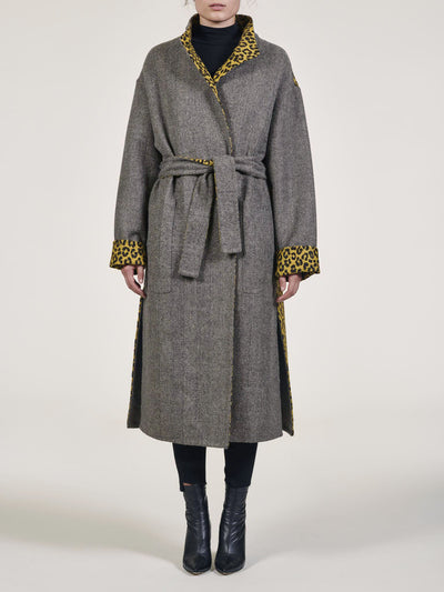 Herringbone Leopard Reversible Coat