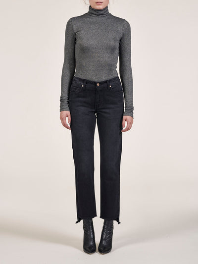 Uneven Hem Crop Straight Jeans