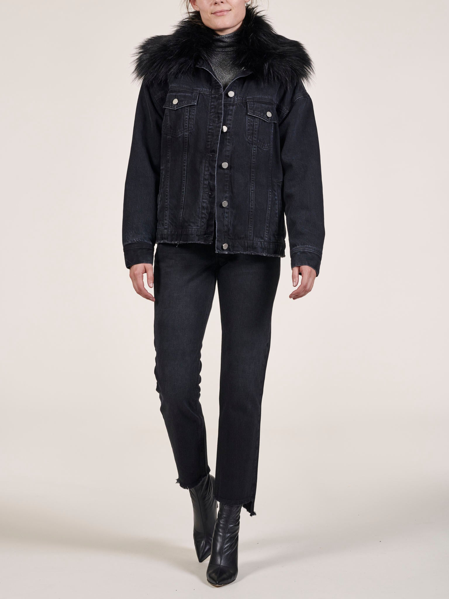 Shearling Lined Black Denim Parka Jacket
