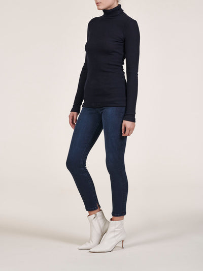 Turtle Neck Wool Blend Rib Knit Top