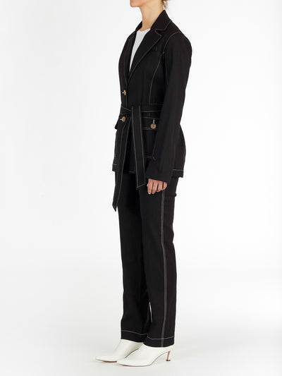 Dublin Belted Blazer in Black with Contrast Stitching