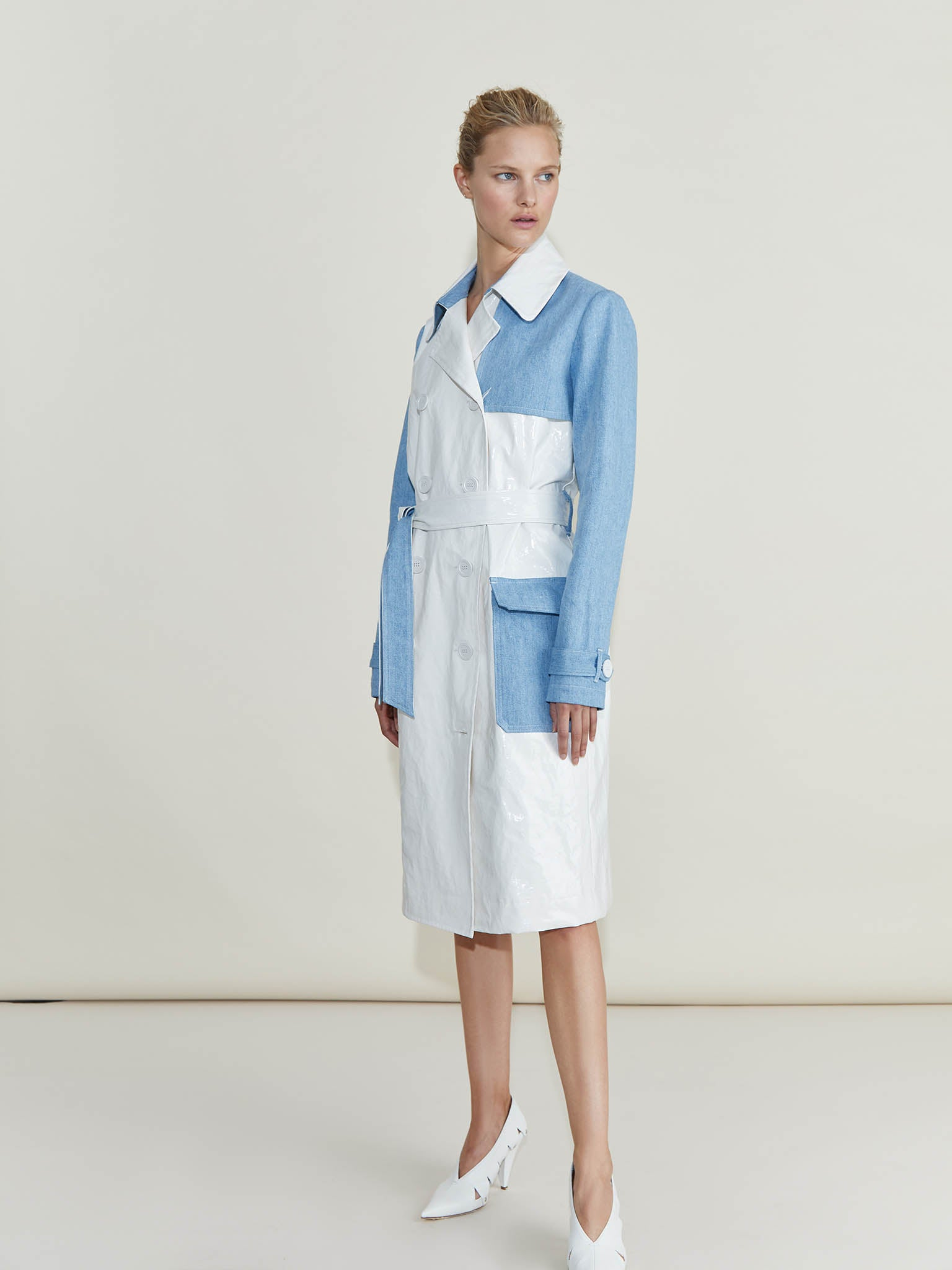 Kensington Denim Block PU Trench Coat