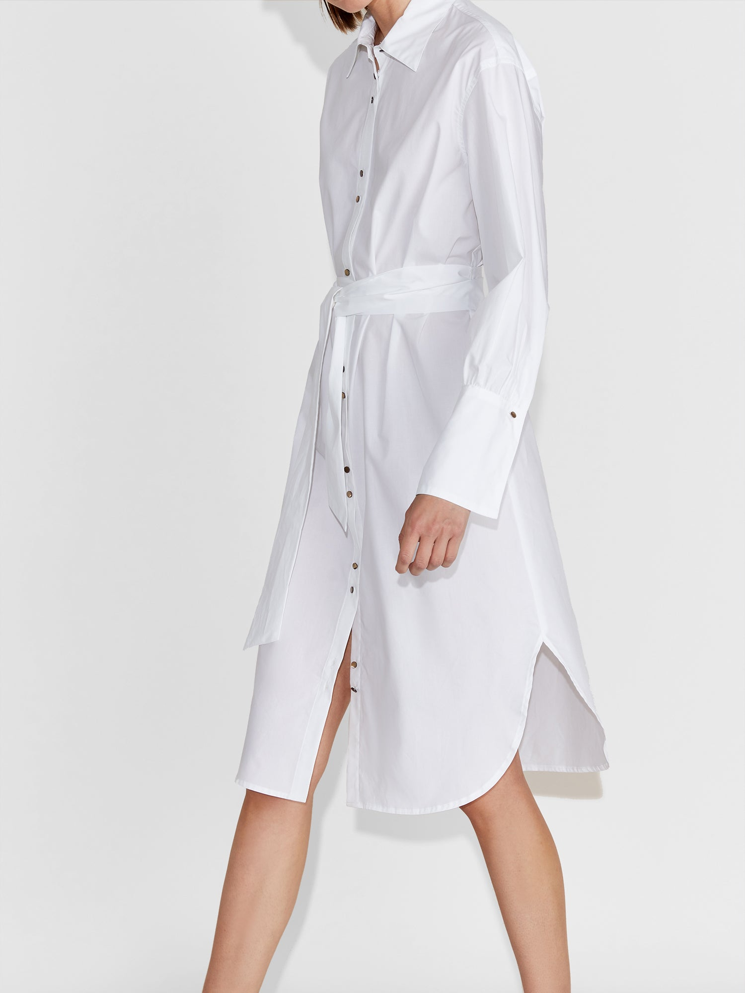 Florence Poplin Midi Shirtdress in White