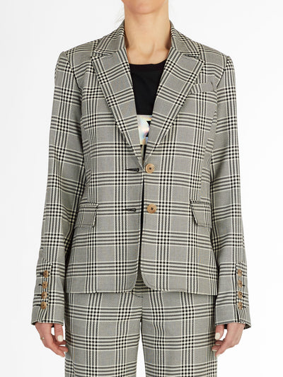 Freja Black and White Plaid Single Blazer