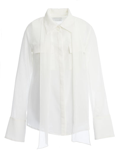 Giedre Tie Neck Sheer Cotton Crepe Shirt
