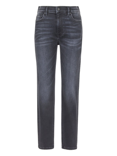 High Rise Skinny Jeans with Slit in Black Wash