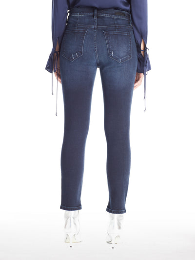 High Rise Skinny Jeans with Slit in Dark Indigo Wash