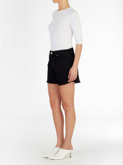 High Waist Short in Rigid Italian Black Denim