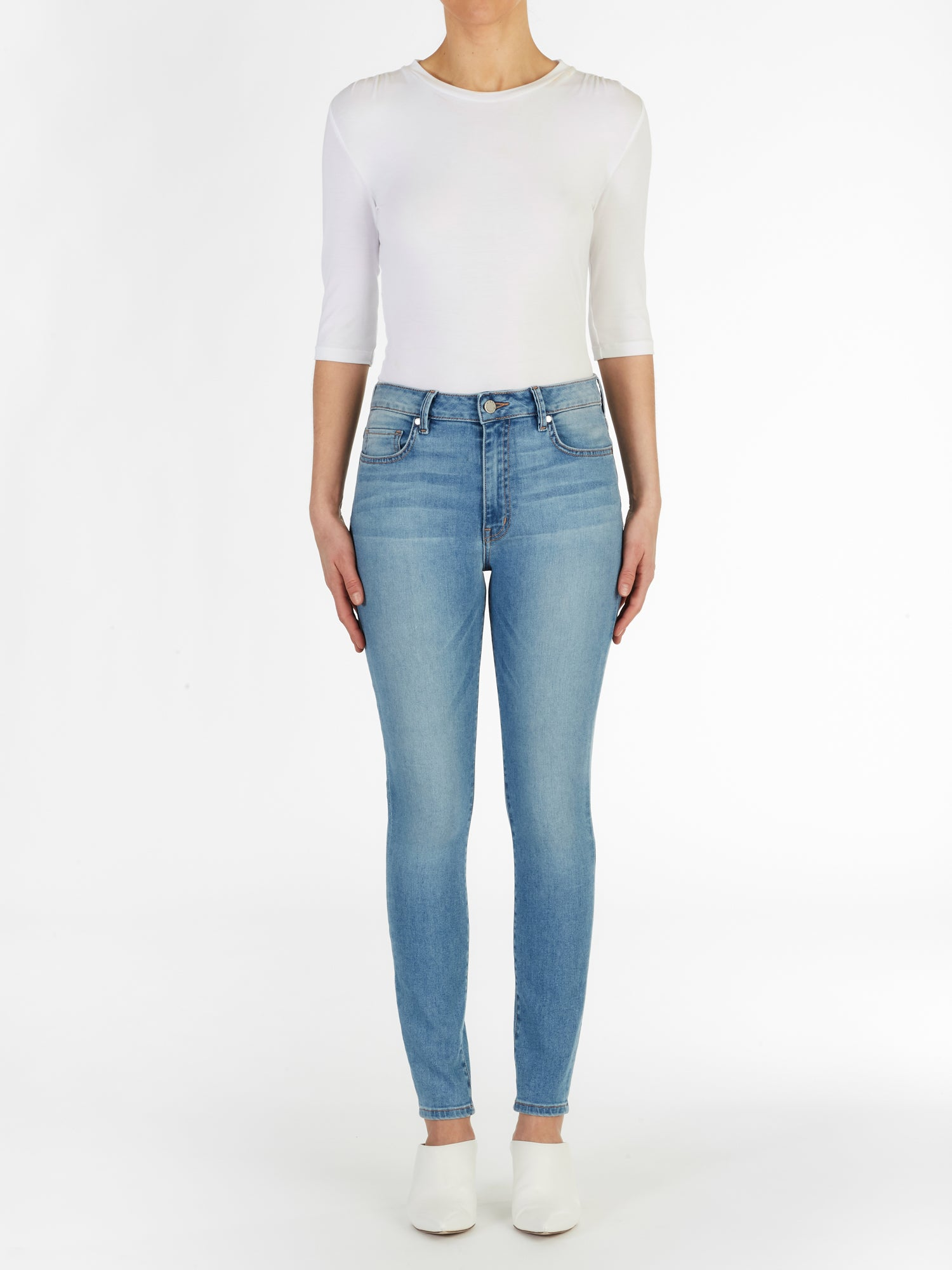 High Waist Skinny Jeans in Italian Stretch Denim