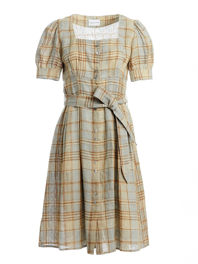 Irina Italian Linen Plaid Midi Dress in Sage Green