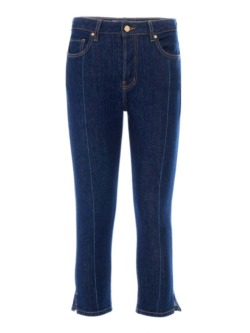 Jackie Capri Jeans in Dark Indigo Stretch Italian Denim