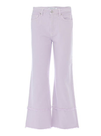 Kate Wide Crop Frayed Jeans in Frosted Lilac Rigid Italian Denim