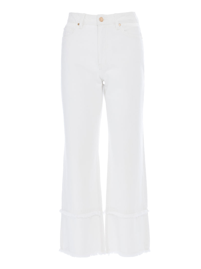 Kate Wide Crop Frayed Jeans in Rigid White Italian Denim