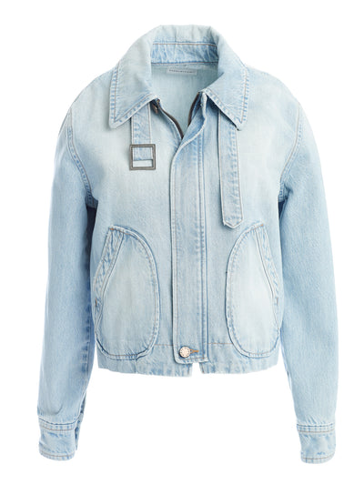Lexington Zip Front Jacket in Rigid Italian Denim