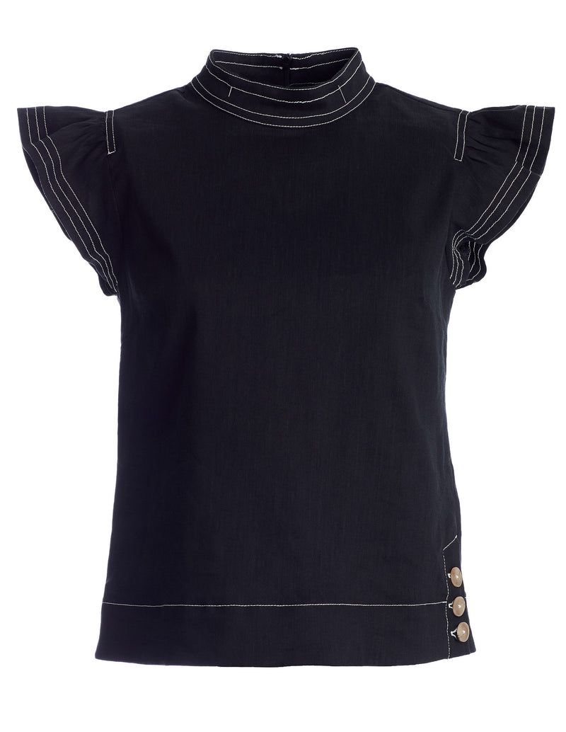 Liberty Frill Poplin Top in Black Italian Linen