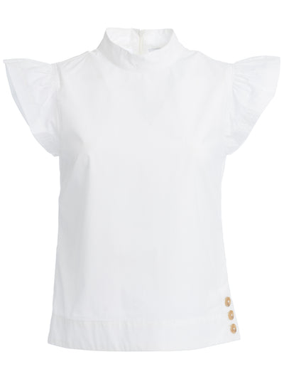 Liberty Frill Poplin Top in White Italian Cotton Poplin