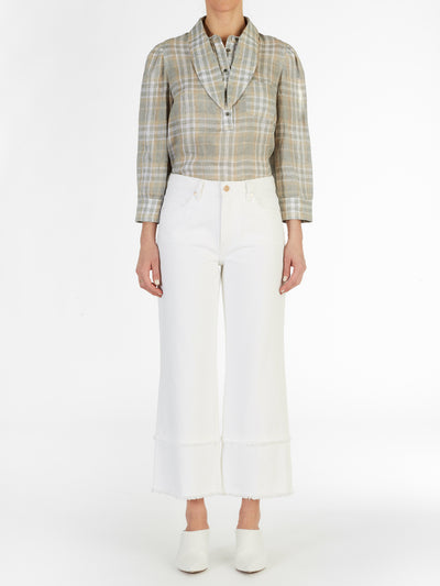 Long Collar Linen Plaid Top in Sage Green