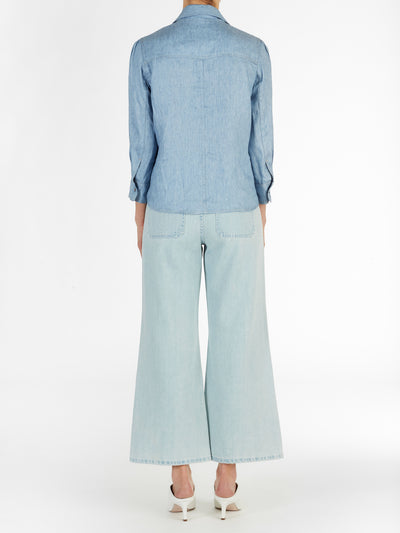 Long Collar Chambray Top in Light Blue Italian Linen